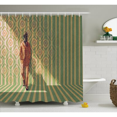 Man Wearing A Mask Decor Shower Curtain Size: 69 H x 75 W