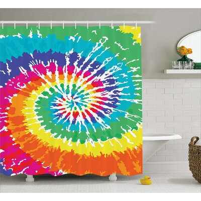 Spiral Vortex Decor Shower Curtain Size: 69 H x 70 W