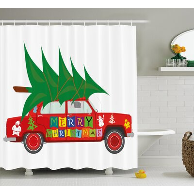 Christmas Car with Xmas Tree Shower Curtain Size: 69 H x 84 W