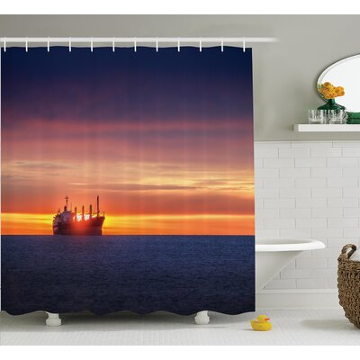 Sunrise Horizon Nautical Decor Shower Curtain Size: 69 H x 84 W