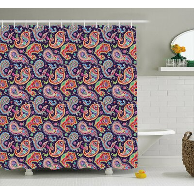 Geometrical and Floral Decor Shower Curtain Size: 69 H x 84 W