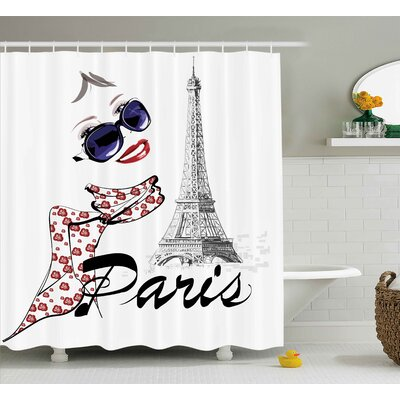 Woman and Eiffel Tower Shower Curtain Size: 69 H x 75 W