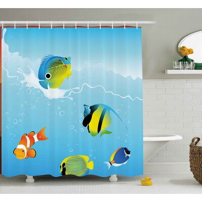 Tropical Fish Shower Curtain Size: 69 H x 70 W