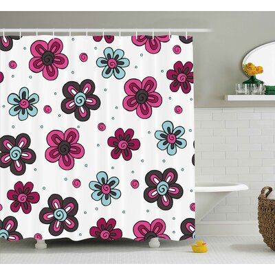 Florets Buds Shower Curtain Size: 69 H x 75 W