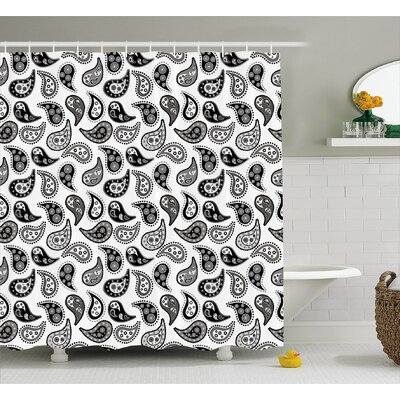 Tailored Hem Decor Shower Curtain with 12 hooks Size: 69 H x 70 W