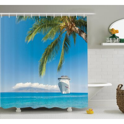 Cruise Ship Nautical Decor Shower Curtain Size: 69 H x 84 W