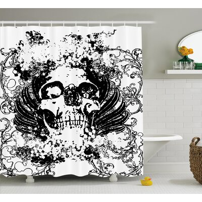 Skull Wave Shower Curtain Size: 69 H x 84 W