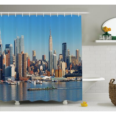 City Skyline Shower Curtain Size: 69 H x 75 W