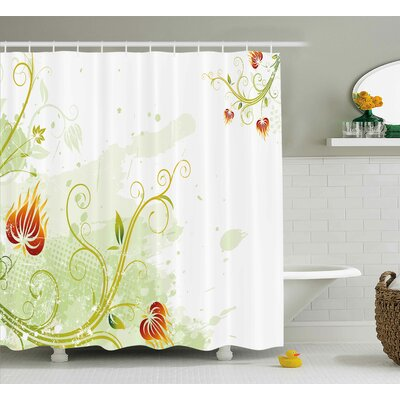 Swirled Petals Lines Shower Curtain Size: 69 H x 75 W