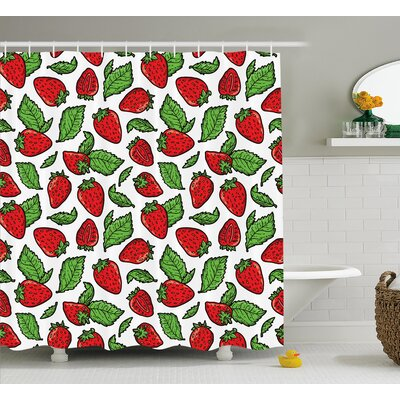 Juicy Strawberries Shower Curtain Size: 69 H x 75 W