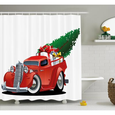 Christmas American Truck with Tree Shower Curtain Size: 69 H x 70 W