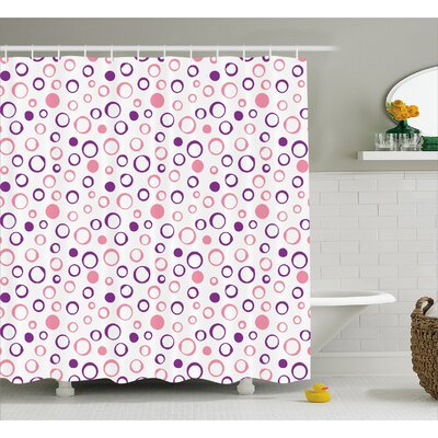 Circular Figure Spherical Dots Decor Shower Curtain Size: 69 H x 84 W