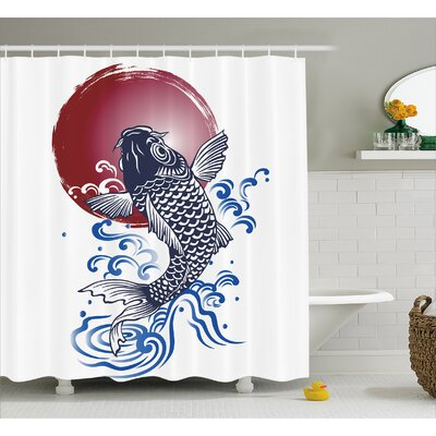 Carp with Circular Decor Shower Curtain Size: 69 H x 70 W