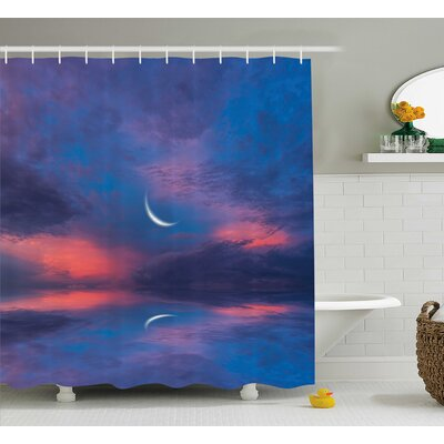 Clovis Crescent Moon Decor Shower Curtain Size: 69 H x 75 W