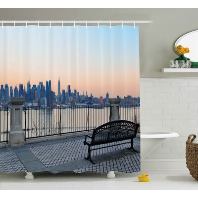 Landscape Bench Shower Curtain Size: 69 H x 84 W