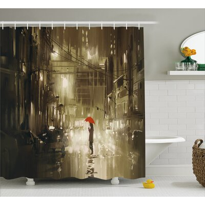 Woman with Red Umbrella Decor Shower Curtain Size: 69 H x 70 W