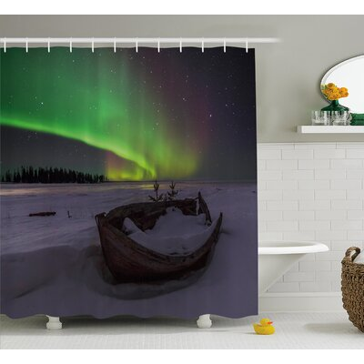 Wooden Boat Shower Curtain Size: 69 H x 84 W