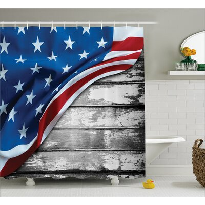 Flag Over Rippled Board Decor Shower Curtain Size: 69 H x 84 W