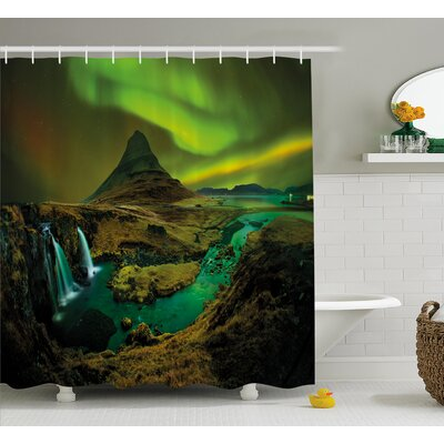 Northern Lights Shower Curtain Size: 69 H x 84 W