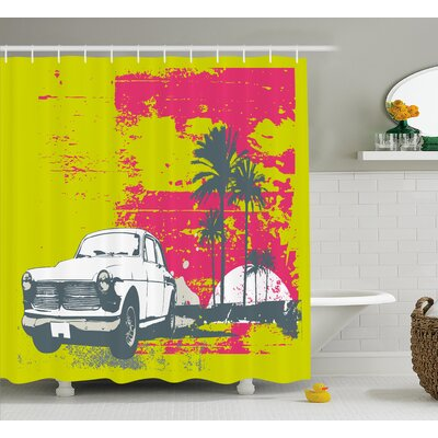 Vintage Car Shower Curtain Size: 69 H x 70 W