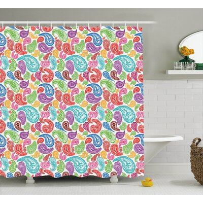 Matanna Flowers and Leaves Decor Shower Curtain Size: 69 H x 84 W