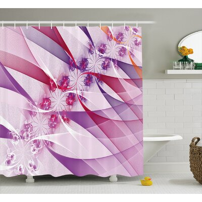 Digital Flowers Shower Curtain Size: 69 H x 75 W