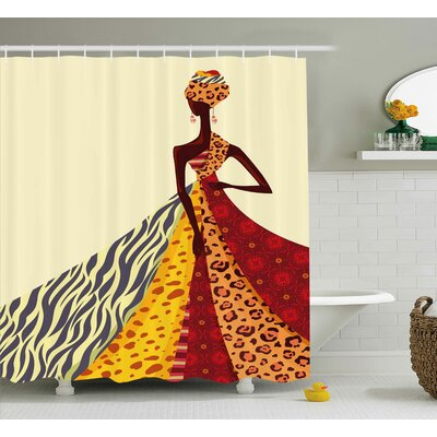 African Girl Decor Shower Curtain Size: 69 H x 70 W