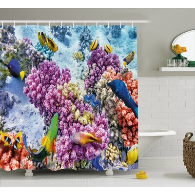 Coral and Fish Decor Shower Curtain Size: 69 H x 84 W