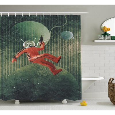 Skull Astronaut Decor Shower Curtain Size: 69 H x 84 W