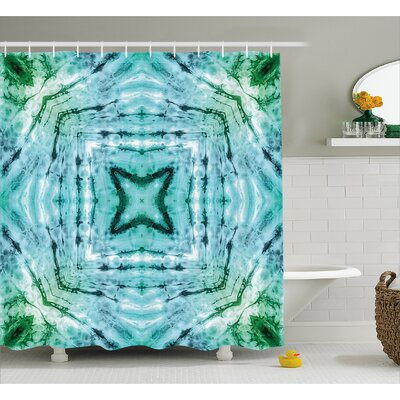 Star inside Square Tie Dye Decor Shower Curtain Size: 69 H x 84 W