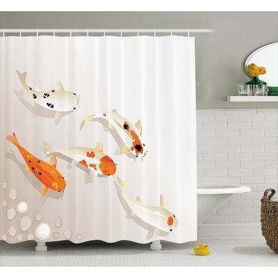 Spotty Koi Carps Decor Shower Curtain Size: 69 H x 70 W