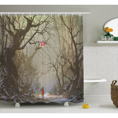 Boy Looking Up Red Balloon Decor Shower Curtain Size: 69 H x 70 W