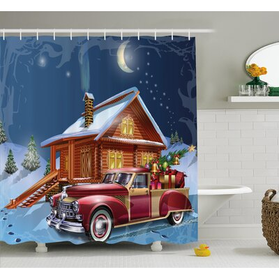 Wooden Lodge with Truck Shower Curtain Size: 69 H x 84 W