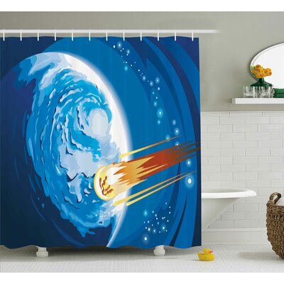 Space Comet Shower Curtain Size: 69 H x 84 W