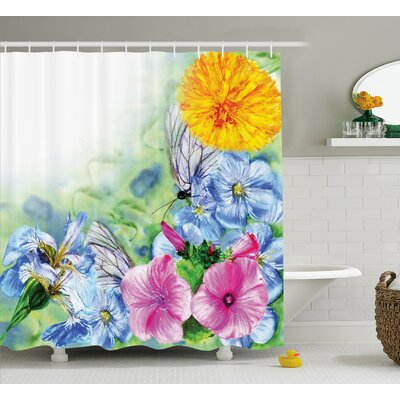 Peony Poppy Petals Decor Shower Curtain Size: 69 H x 75 W