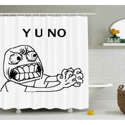 Face Figure with Big Eyes Decor Shower Curtain Size: 69 H x 84 W