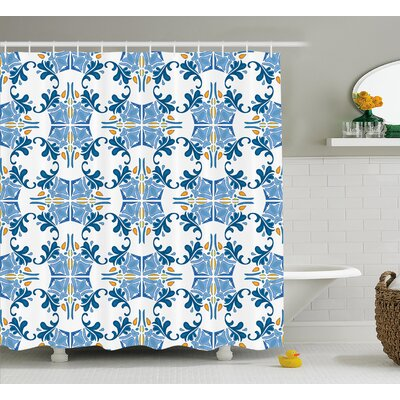 Tile Mosaic Design  Decor Shower Curtain Size: 69 H x 84 W