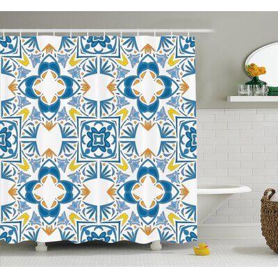 Tunisian Mosaic Decor Shower Curtain Size: 69 H x 75 W