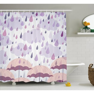 Umbrella and Raindrops Decor Shower Curtain Size: 69 H x 70 W