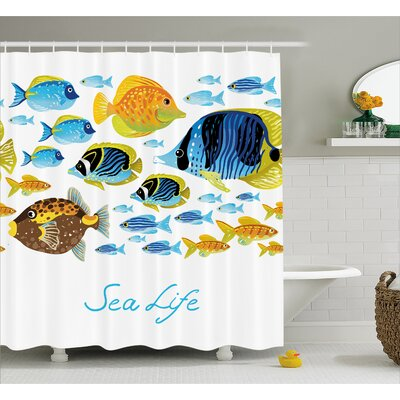 Sea Life Decor Shower Curtain Size: 69 H x 75 W