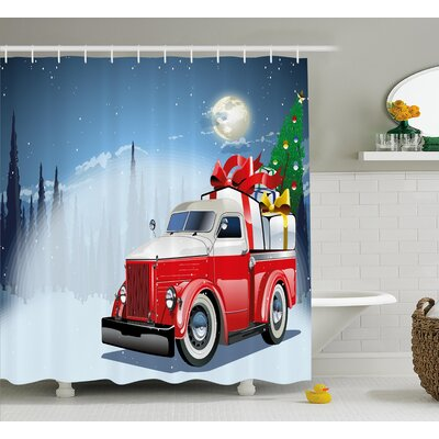 Christmas American Truck Shower Curtain Size: 69 H x 84 W