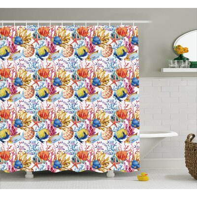Coral with Seashells and Fish Decor Shower Curtain Size: 69 H x 84 W
