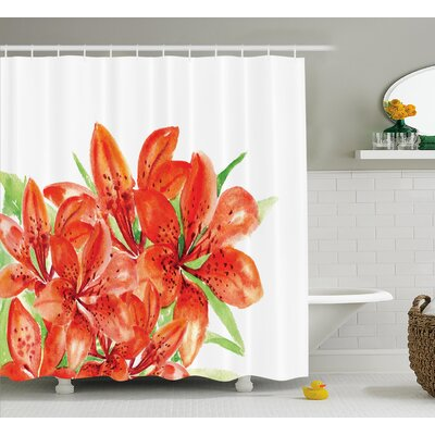 Large Lilies Decor Shower Curtain Size: 69 H x 70 W