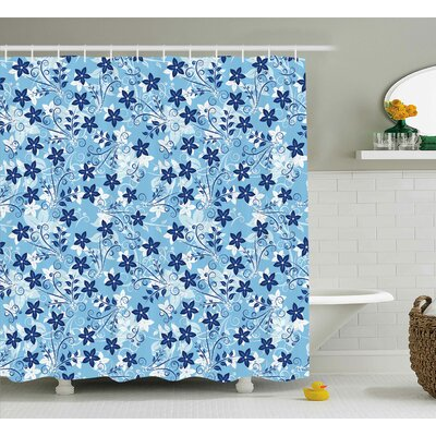 Flowers Floral Decor Shower Curtain Size: 69 H x 84 W