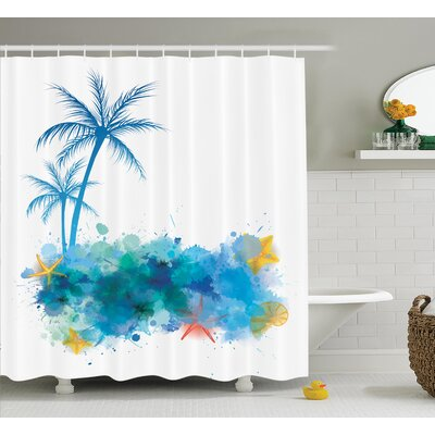 Coconut Palm Trees Shower Curtain Size: 69 H x 75 W