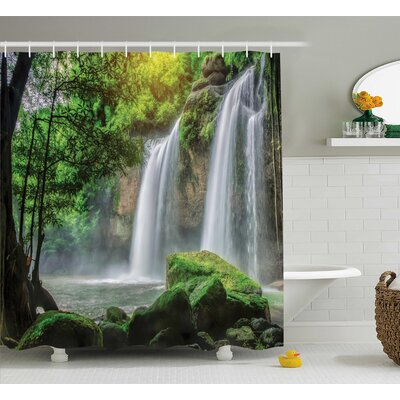 Cascade Stream Decor Shower Curtain Size: 69 H x 70 W