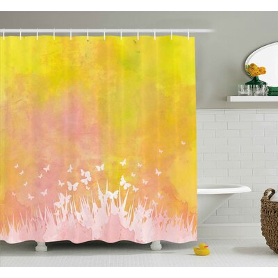 Grass and Butterfly Shower Curtain Size: 69 H x 84 W