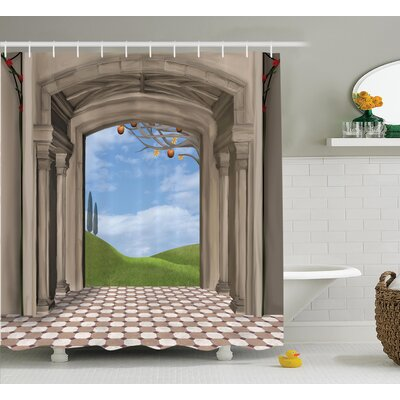 Classic Architectural Decor Shower Curtain Size: 69 H x 84 W