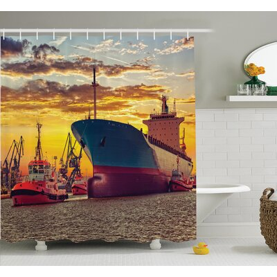 Giant Ship Nautical Decor Shower Curtain Size: 69