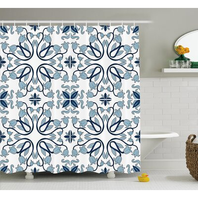 Persian Flower And Leaf  Decor Shower Curtain Size: 69 H x 75 W